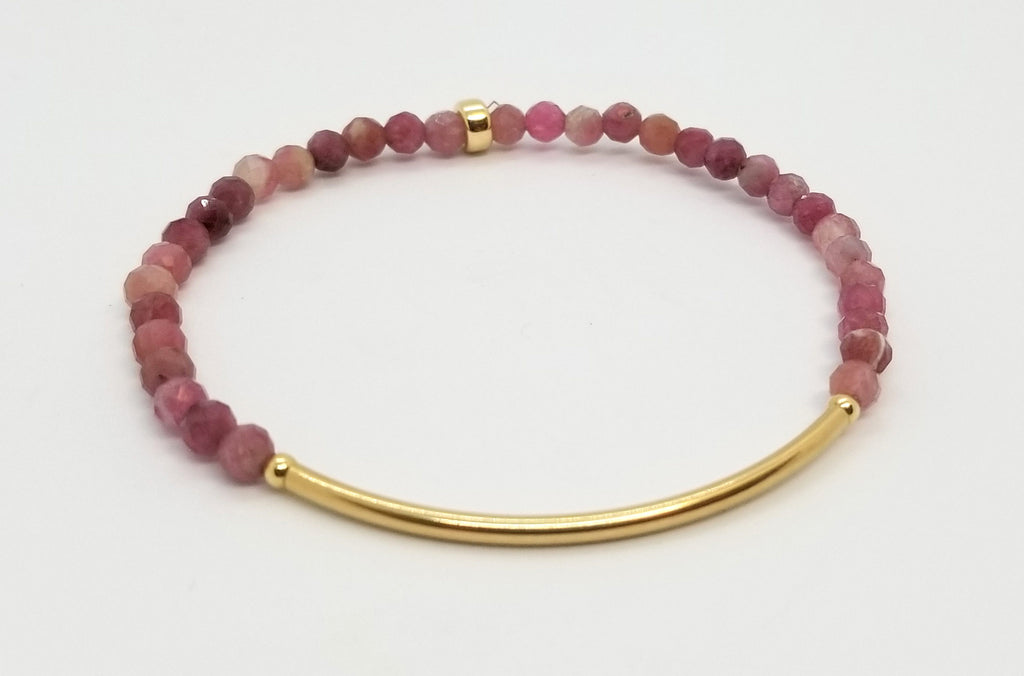 Tourmaline Gold Bar Bracelet