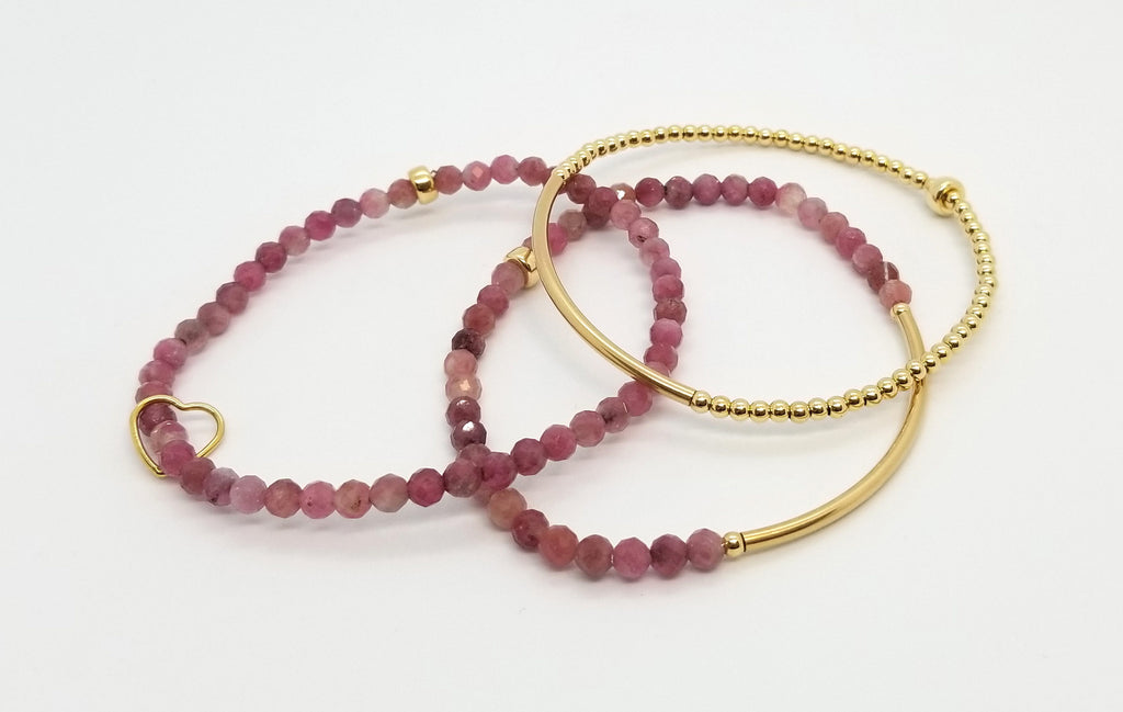 Tourmaline Gold Bracelet 3 Stack