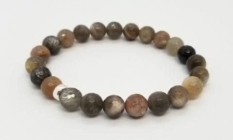 8mm Grey and Chocolate Moonstone Bracelet