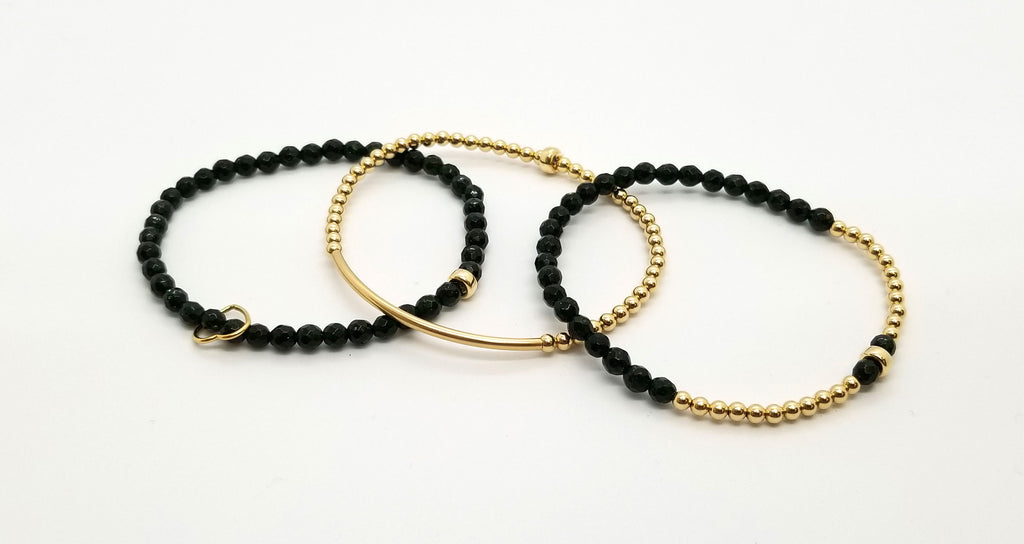 Goldstone Gold Bracelet 3 Stack