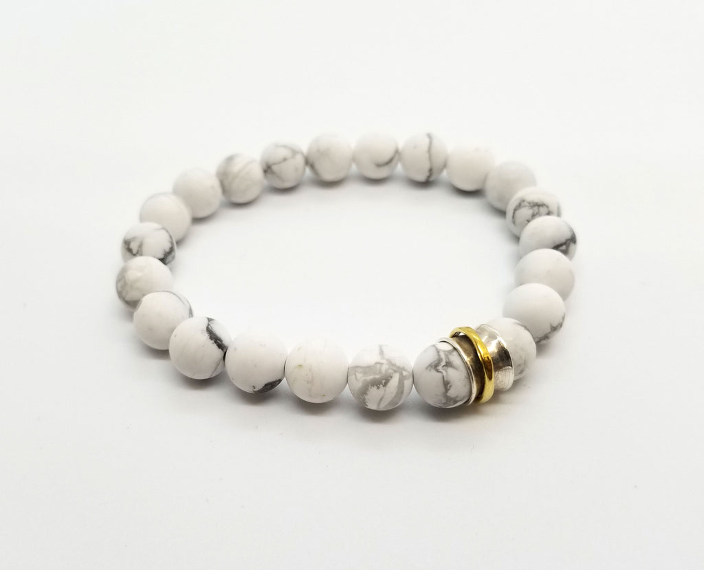 Howlite with Silver and Brass Charm Bracelet