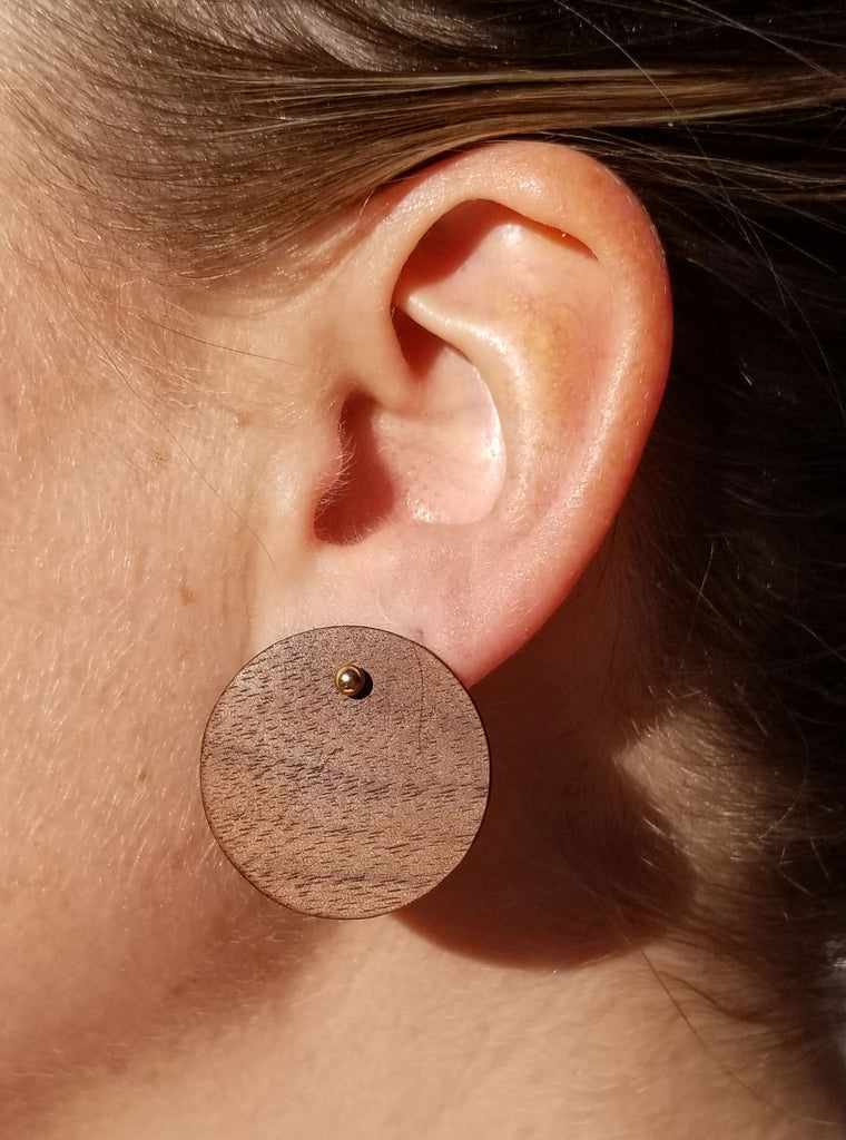 Black Walnut Circle with Gold Studs