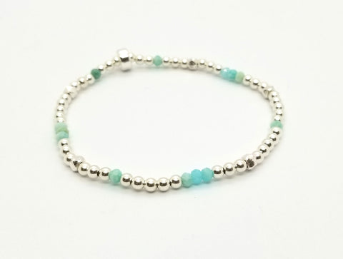 Scattered Amazonite Silver Bracelet