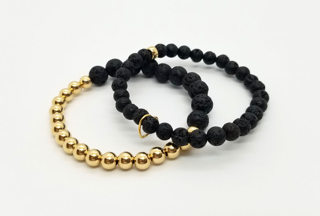 6mm-8mm Lava Gold Bracelet 2 Stack
