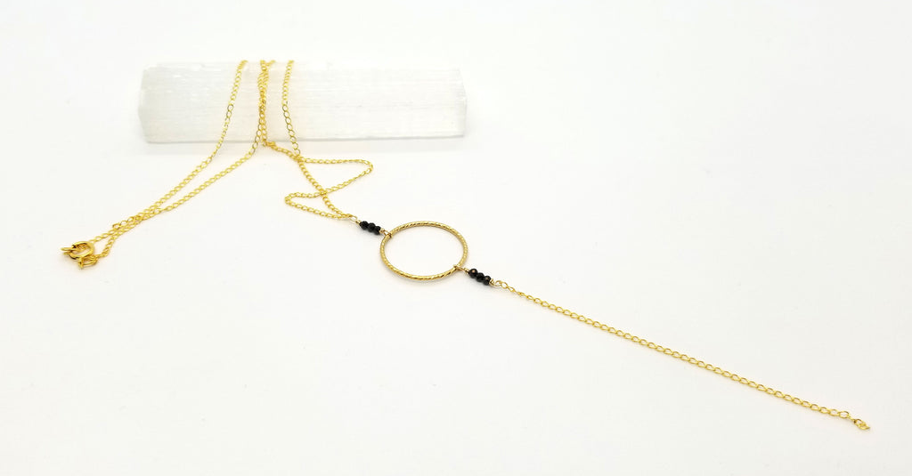 Black Spinel Circle Dangle Gold Chain Necklace