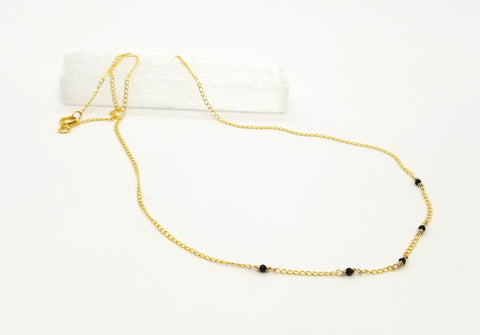 Black Spinel Dispersed Mini Gem Gold Chain