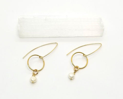 Gold Goddess with Freshwater Pearl Earrings