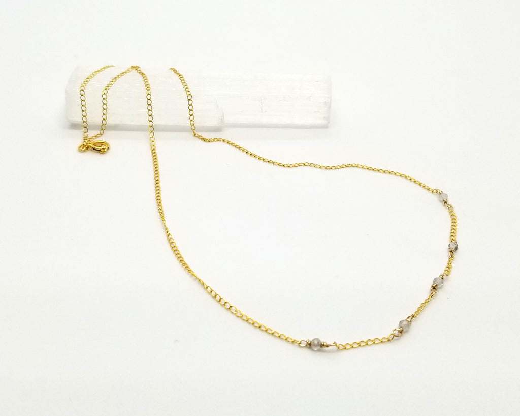 Labradorite Dispersed Mini Gem Gold Chain