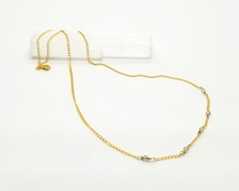 Labradorite Dispersed Mini Gem Gold Chain Necklace