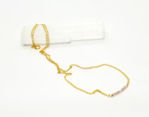 Strawberry Quartz Gem Bar Gold Necklace