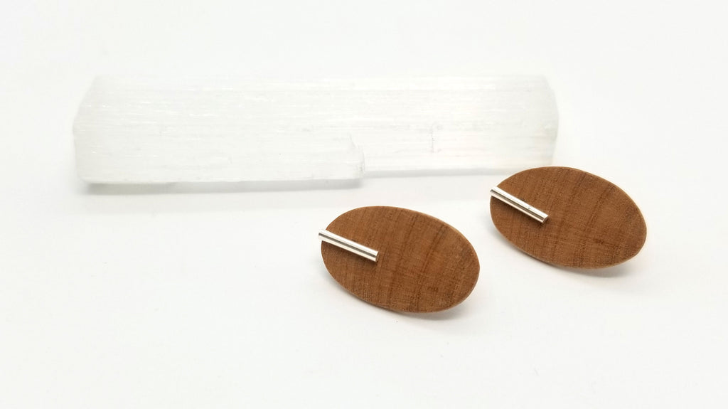 Arbutus Oval with Silver Bar Earrings