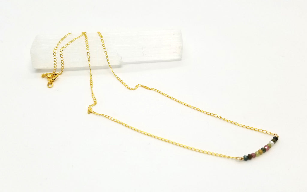 Tourmaline Gem Bar Gold Necklace