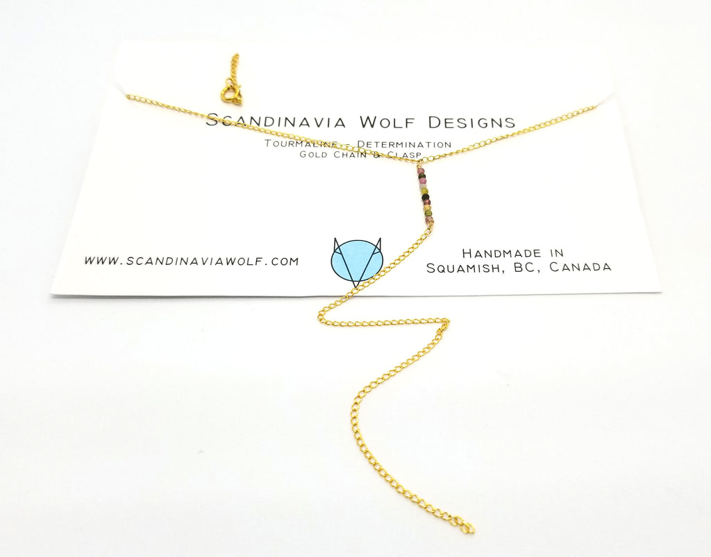 Tourmaline Dangle Gold Necklace