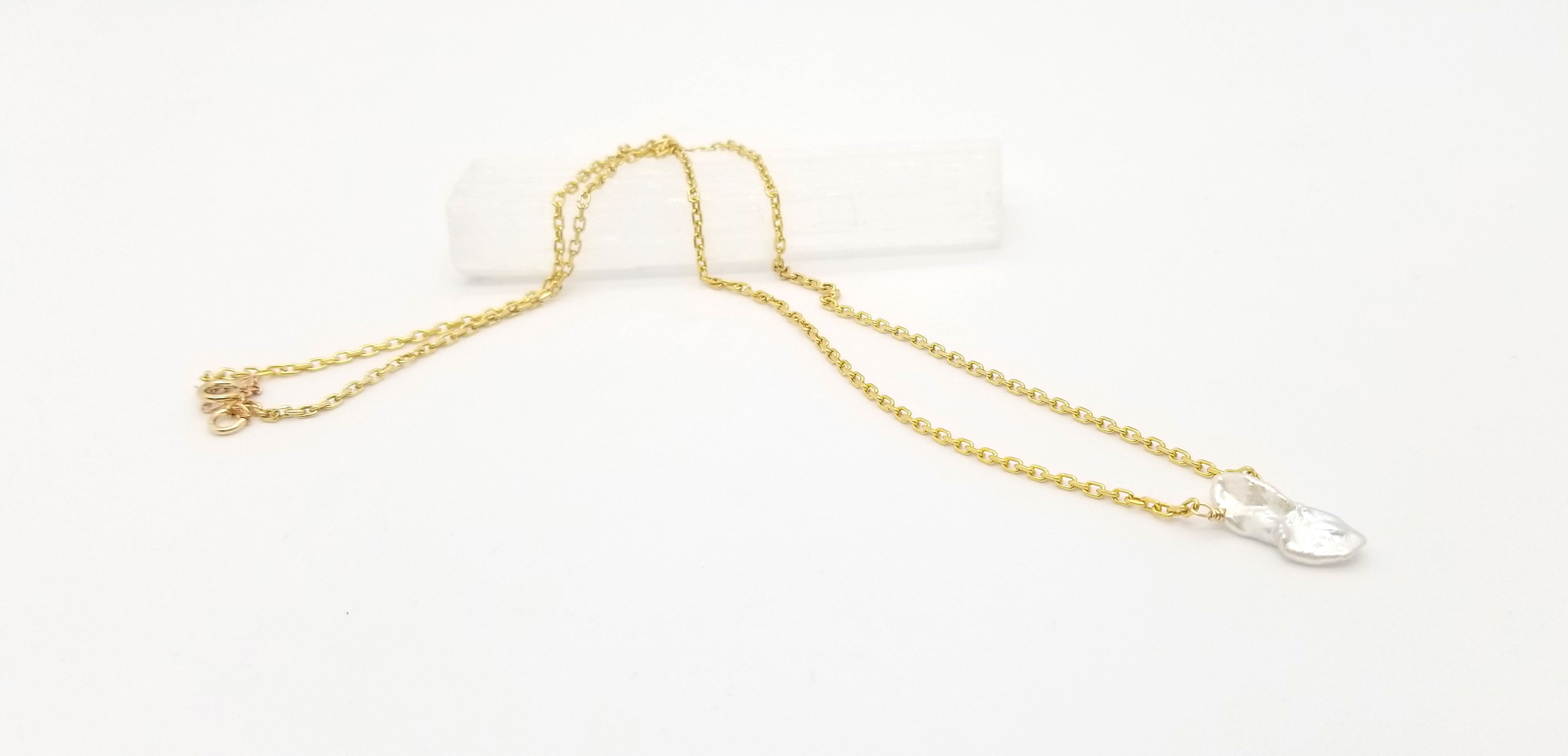 Keshi Pearl Gold Necklace