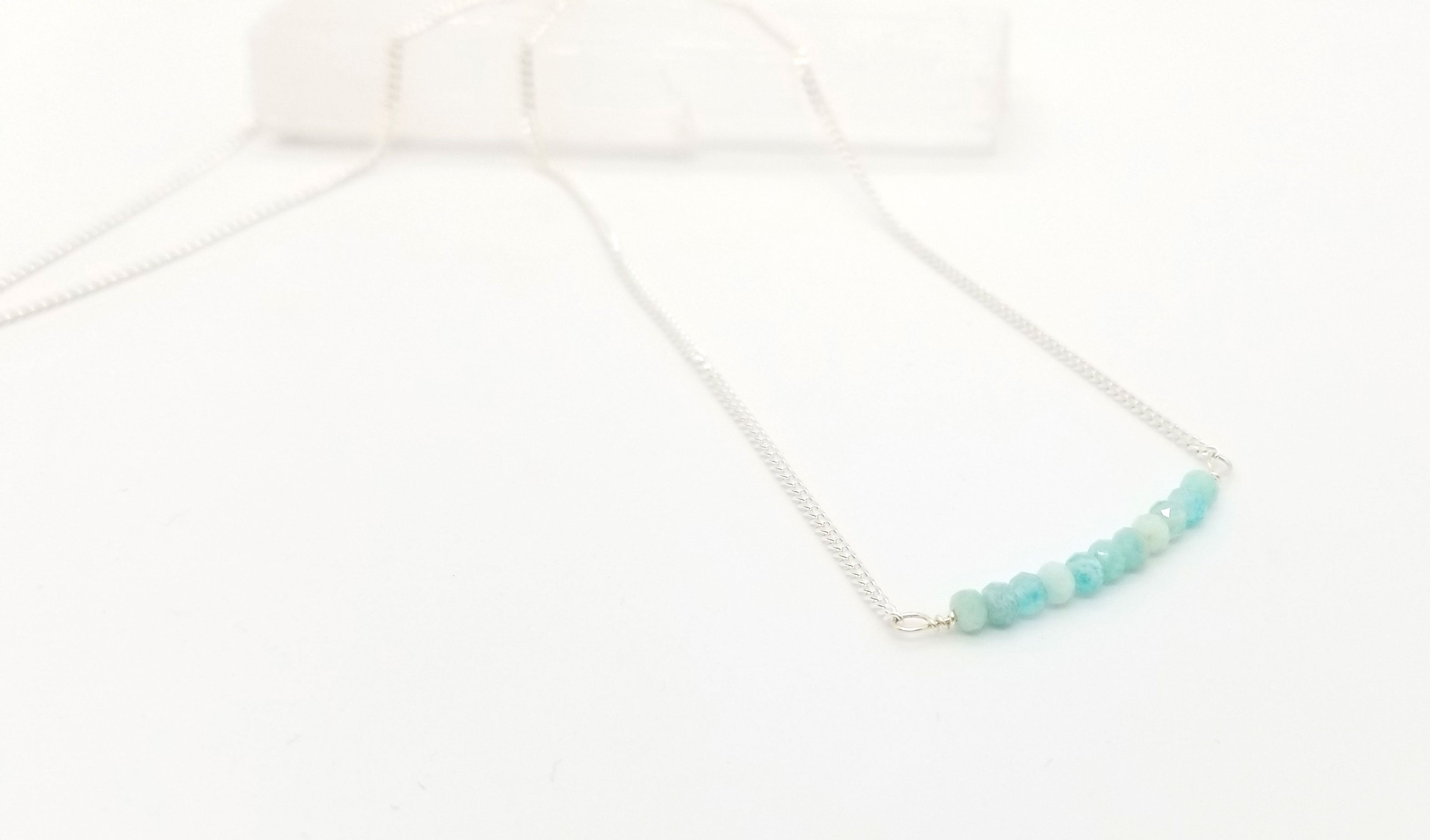 Amazonite Gem Bar Silver Necklace