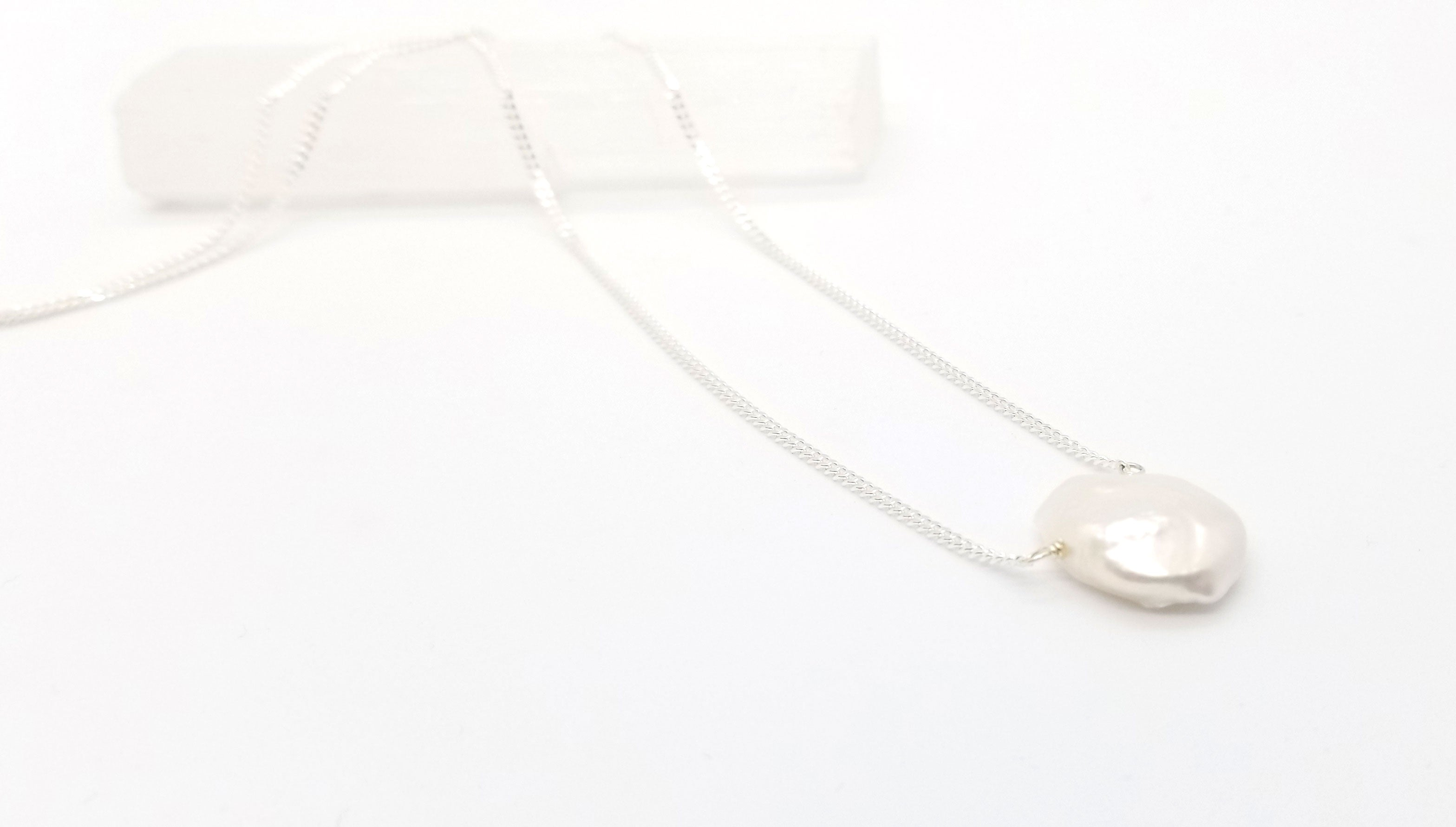 Keshi Pearl Silver Necklace