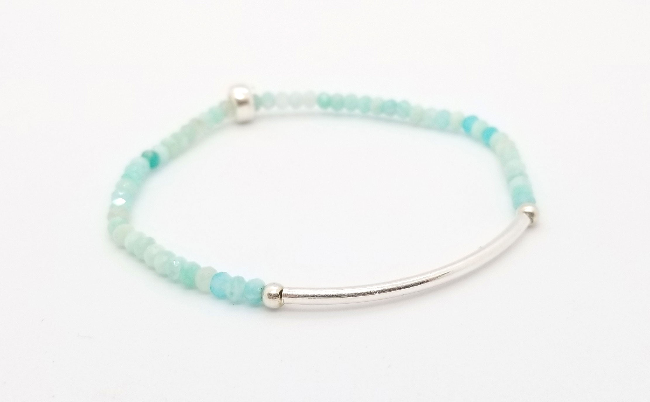 SOLD OUT - Amazonite Silver Bar Bracelet