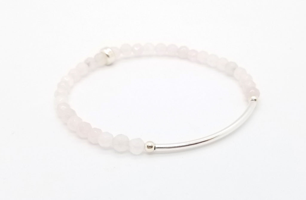 Rose Quartz Silver Bar Bracelet