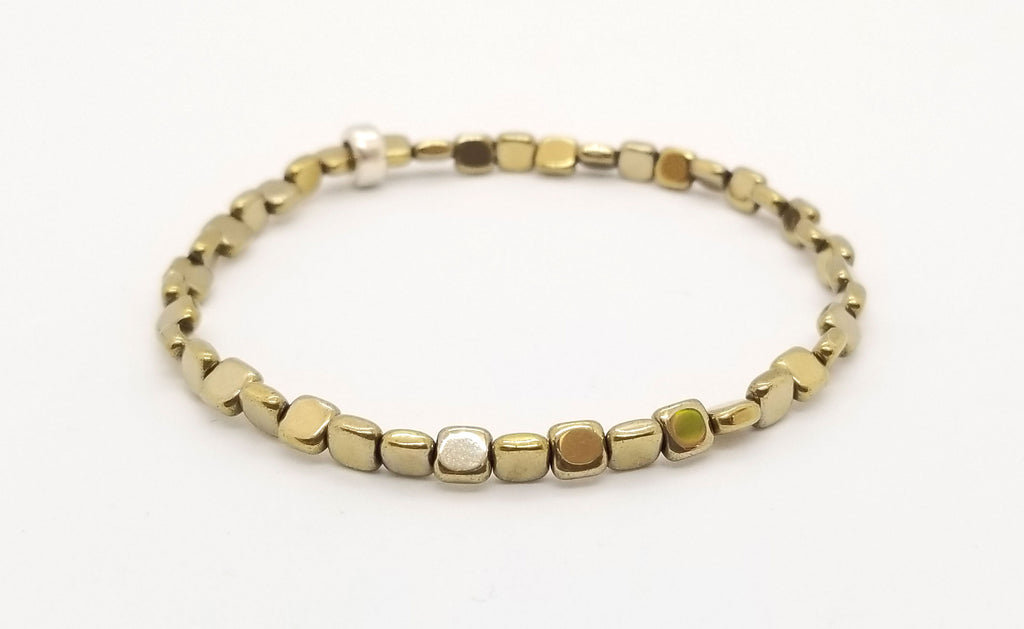Gold Hematite Skinny Square with Silver Bracelet