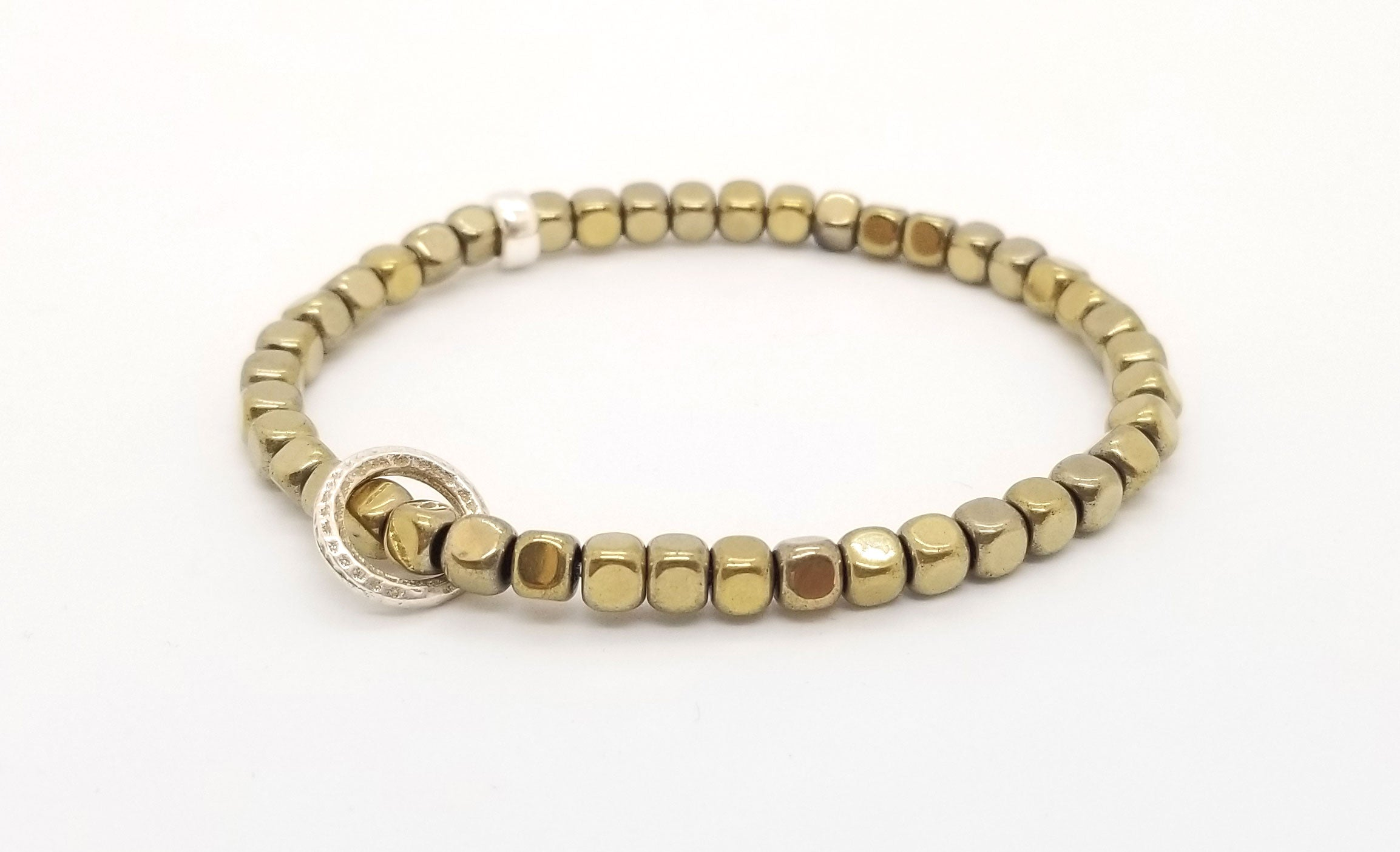 Gold Hematite with Floating Silver Circle Bracelet