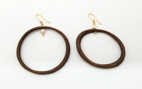 Black Walnut Asymmetrical Hoops with Freshwater Pearl and Gold Earrings (Message for purchase)