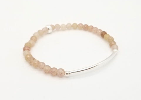 Strawberry Quartz Silver Bar Bracelet