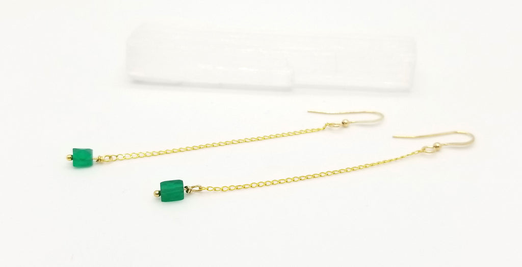 Gold Chain and Green Onyx Dangle Earrings