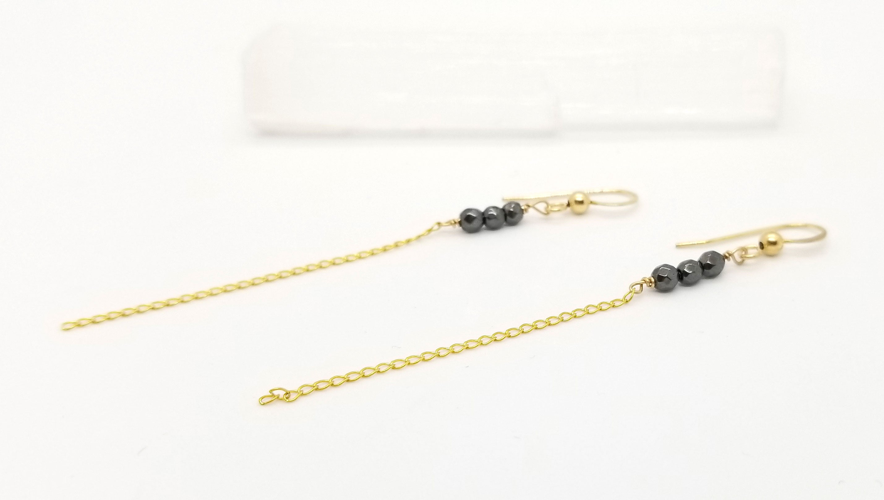 Gold Chain and Hematite Earrings