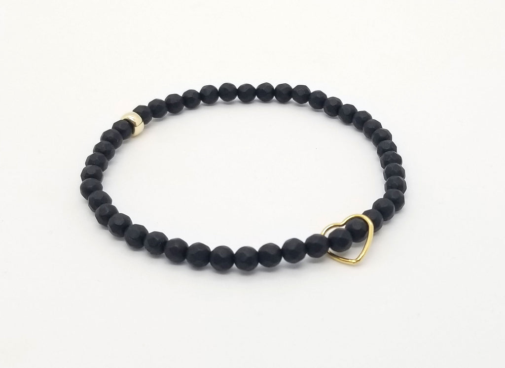 Onyx with Floating Gold Heart Bracelet