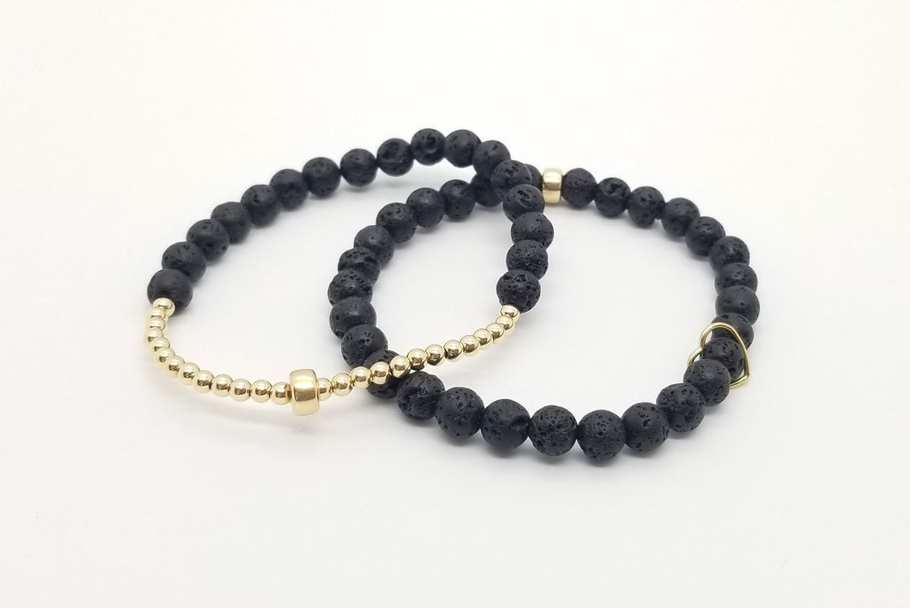 3mm-6mm Lava Gold Bracelet Stack