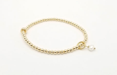 Gold Fresh Water Pearl Charm Bracelet