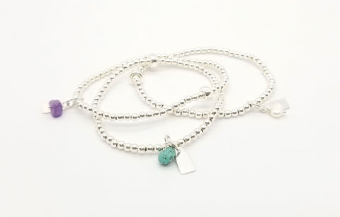 Silver, Turquoise, Amethyst and Freshwater Pearl Charm Bracelet 3 Stack
