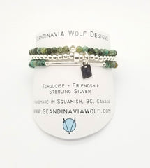 Turquoise Sterling Silver Bracelet 3 Stack