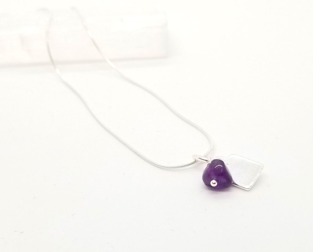 Amethyst Silver Charm Necklace