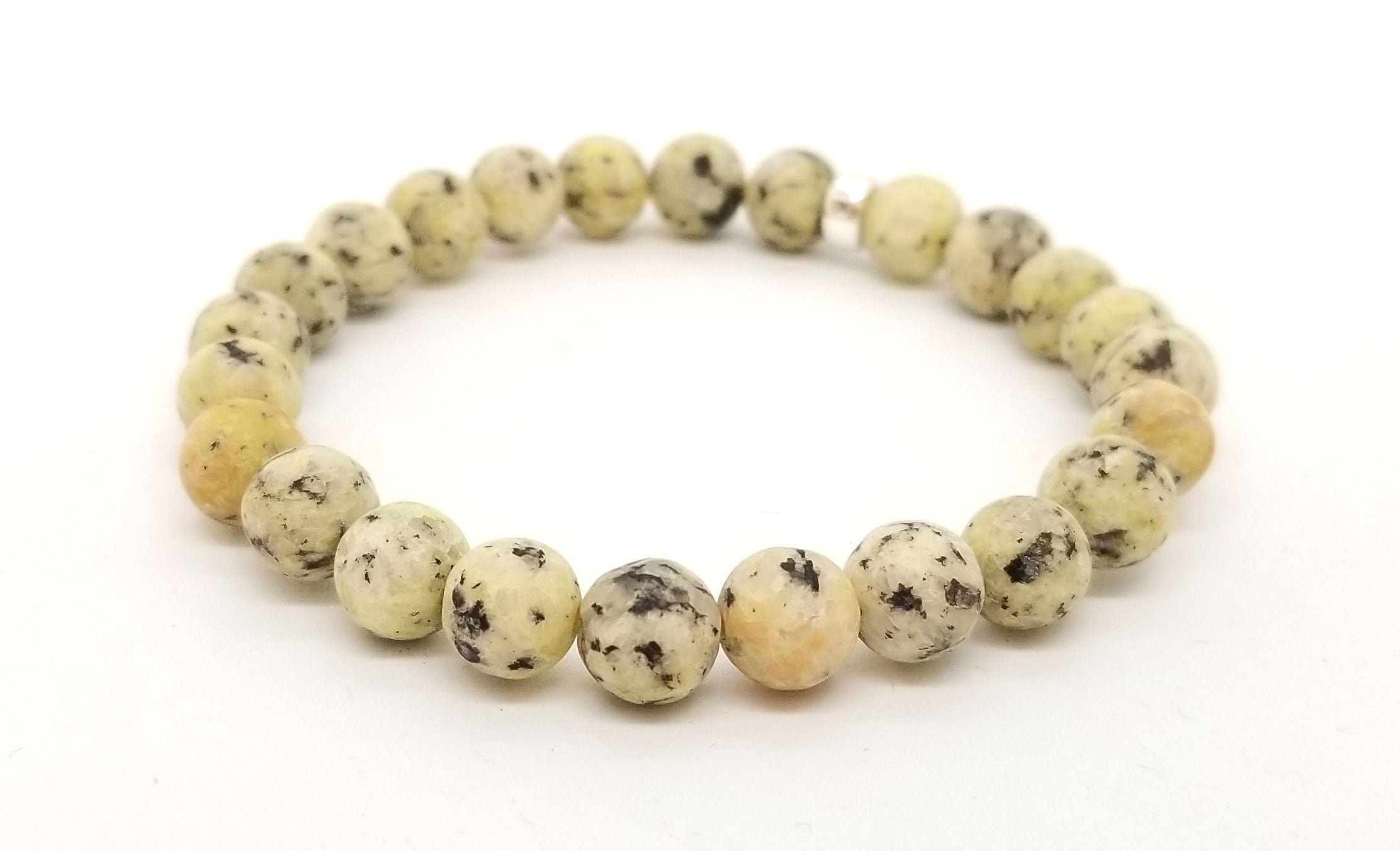 8mm Yellow Jasper Silver Bracelet