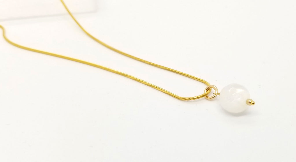 Moonstone Drop Gold Necklace