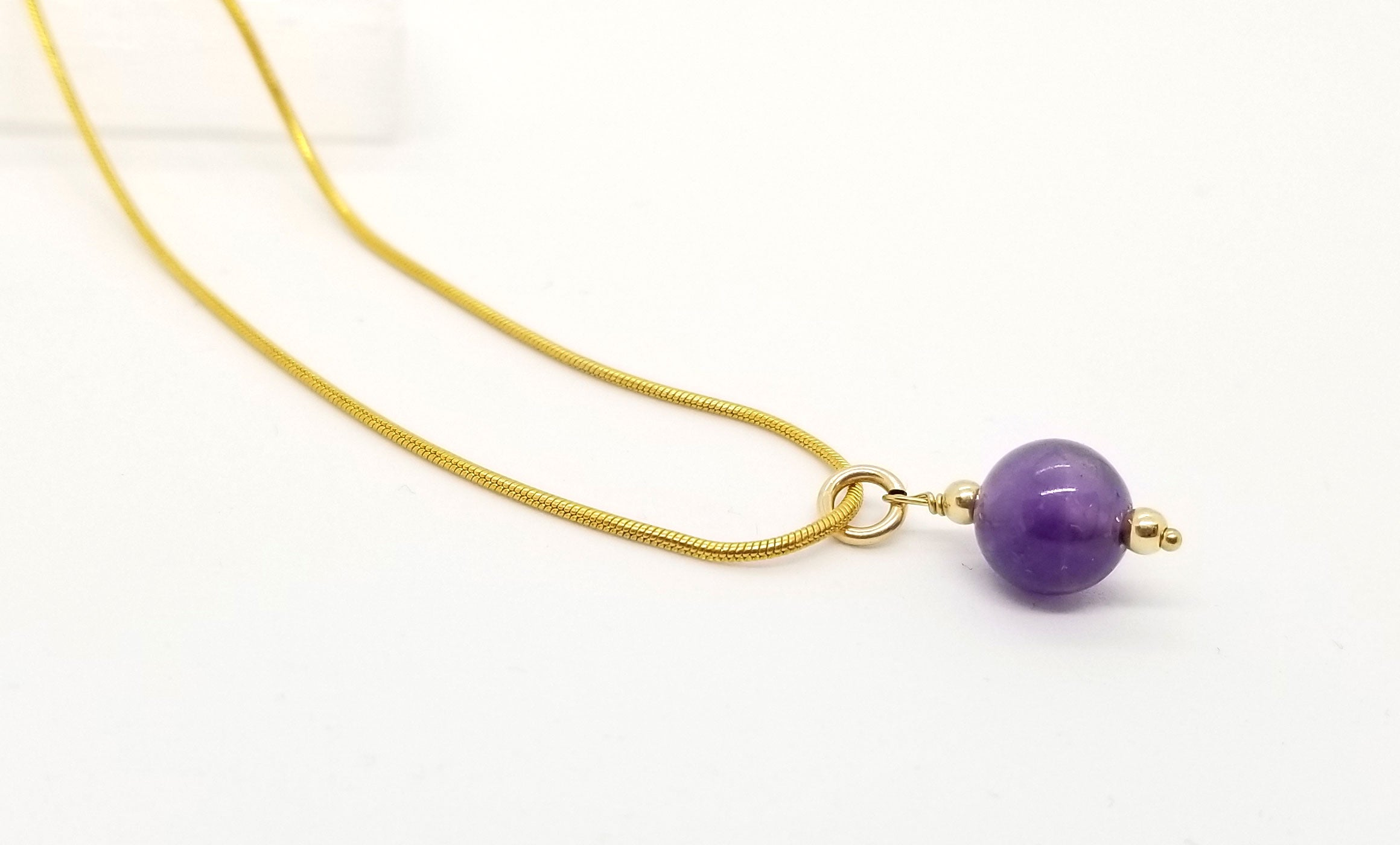 Amethyst Drop Gold Necklace