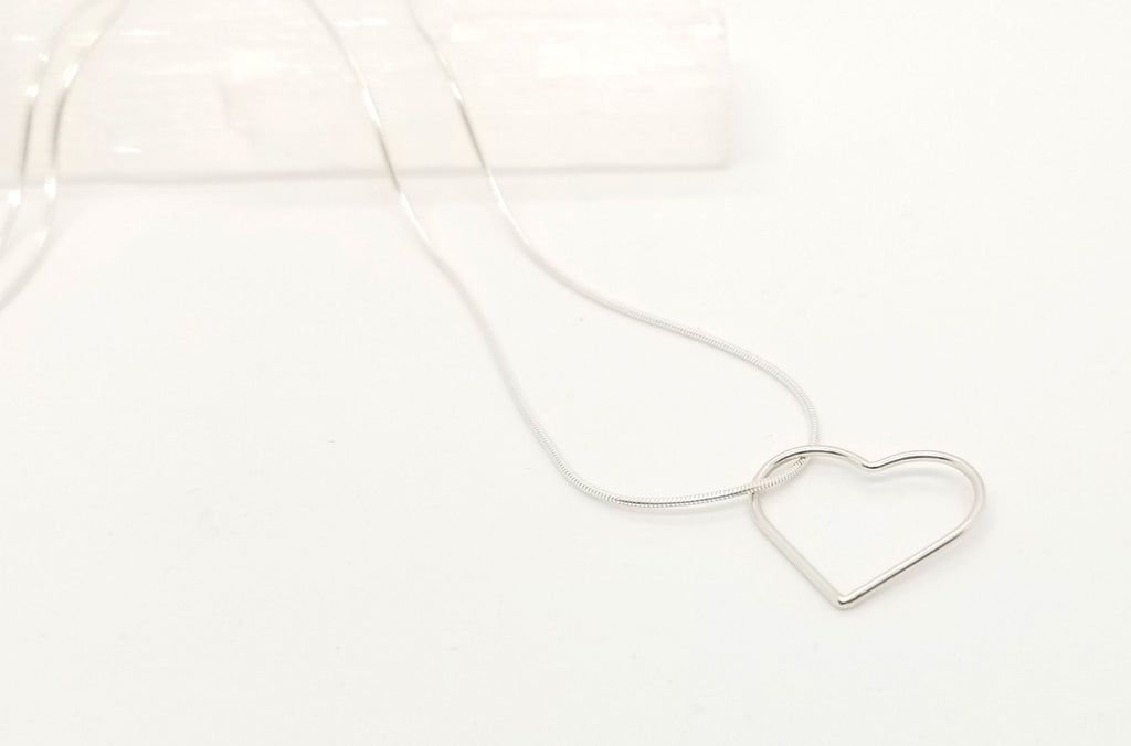 Large Floating Heart Silver Chain Necklace