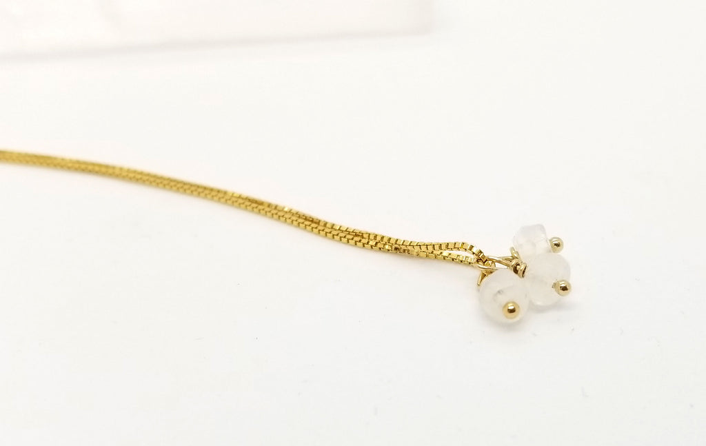 Moonstone Gold Triple Charm Necklace