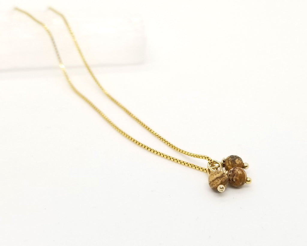 Picture Jasper Gold Triple Charm Necklace