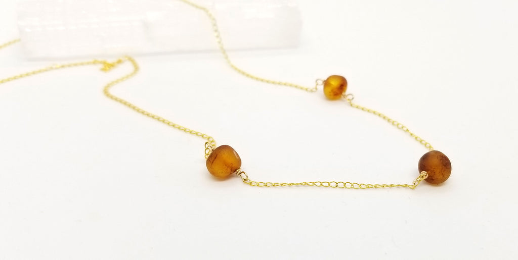 Baltic Amber Gold Necklace