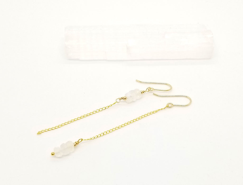 Asymmetrical Moonstone Gold Dangle Earrings