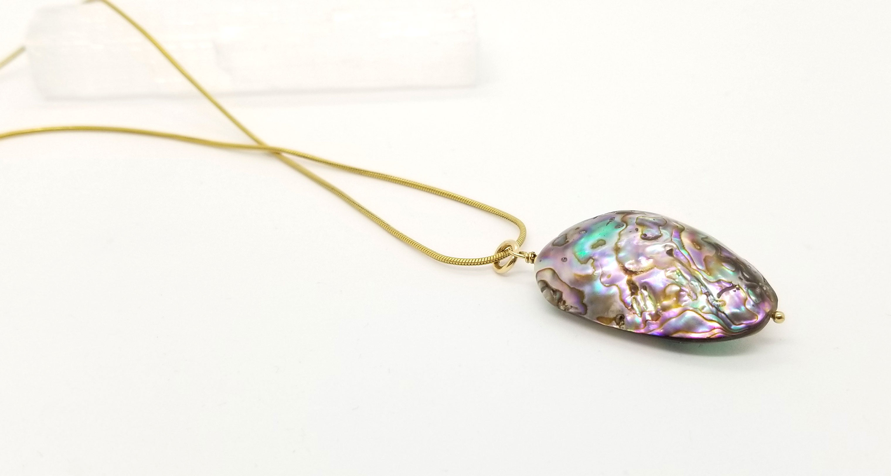 Two Way Abalone Gold Necklace