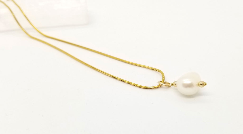 Freshwater Pearl Drop Gold Necklace