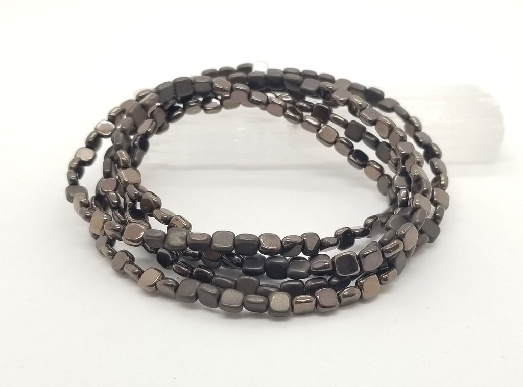 Bronze Square Hematite Wrap Bracelet/Necklace
