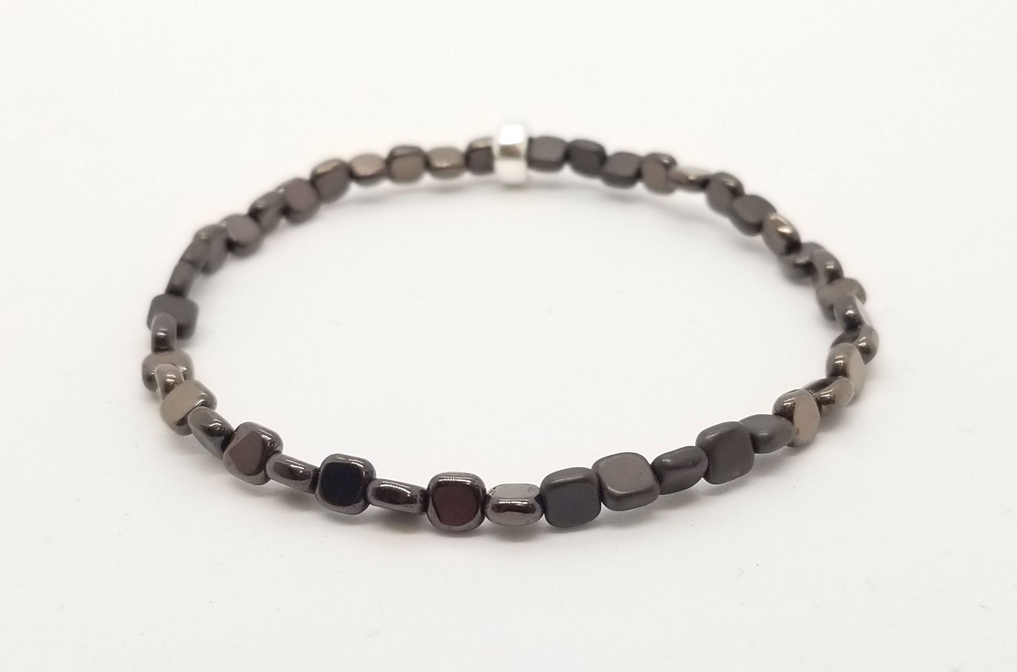 Metallic Brown Gloss/Matte Hematite Skinny Square with Silver Bracelet