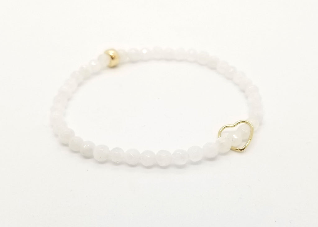 Moonstone and Floating Gold Heart Bracelet