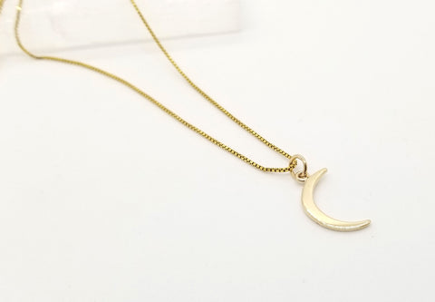Small Crescent Moon Gold Necklace