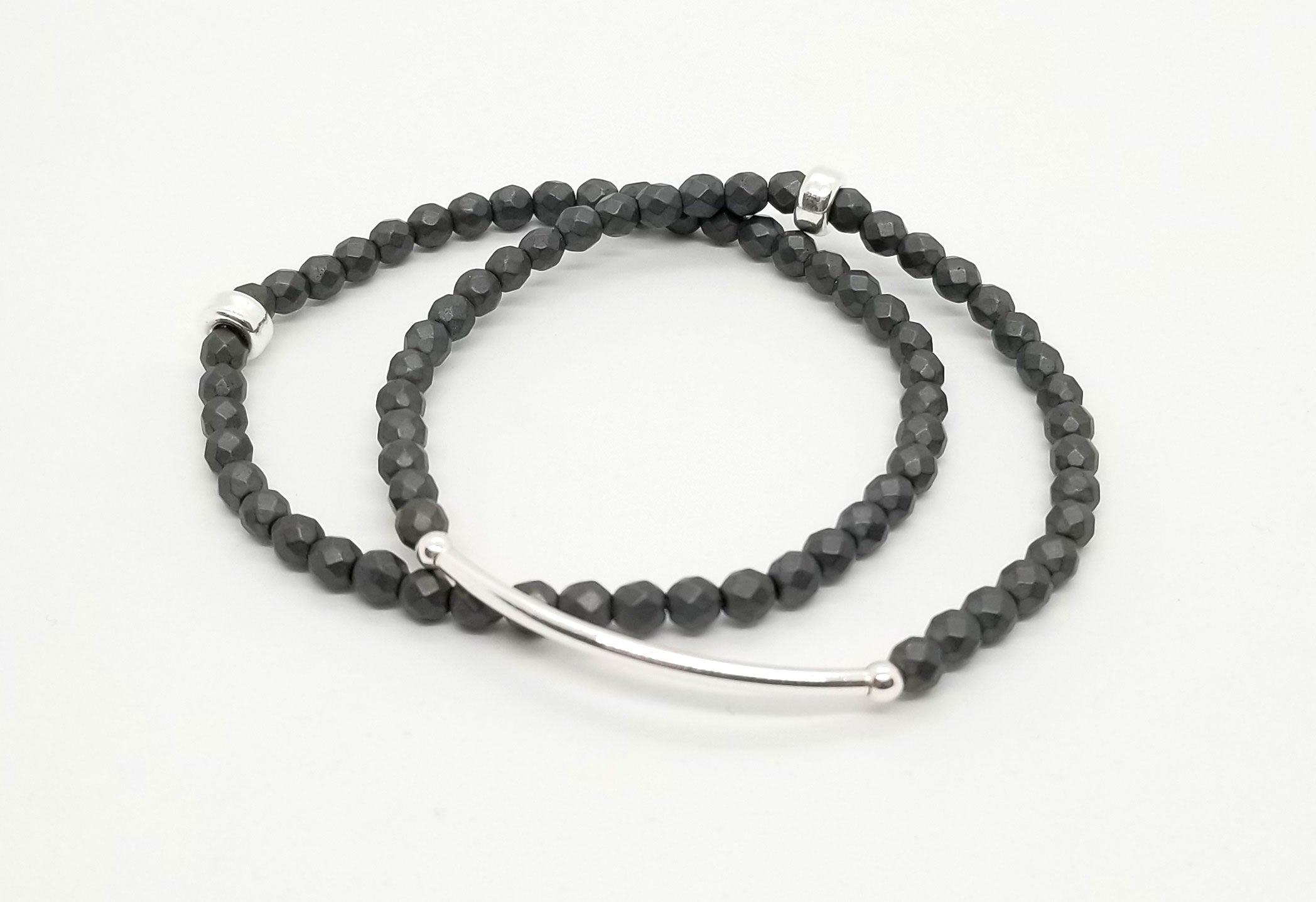 4mm Iron Gray Hematite Silver Bracelet 2 Stack