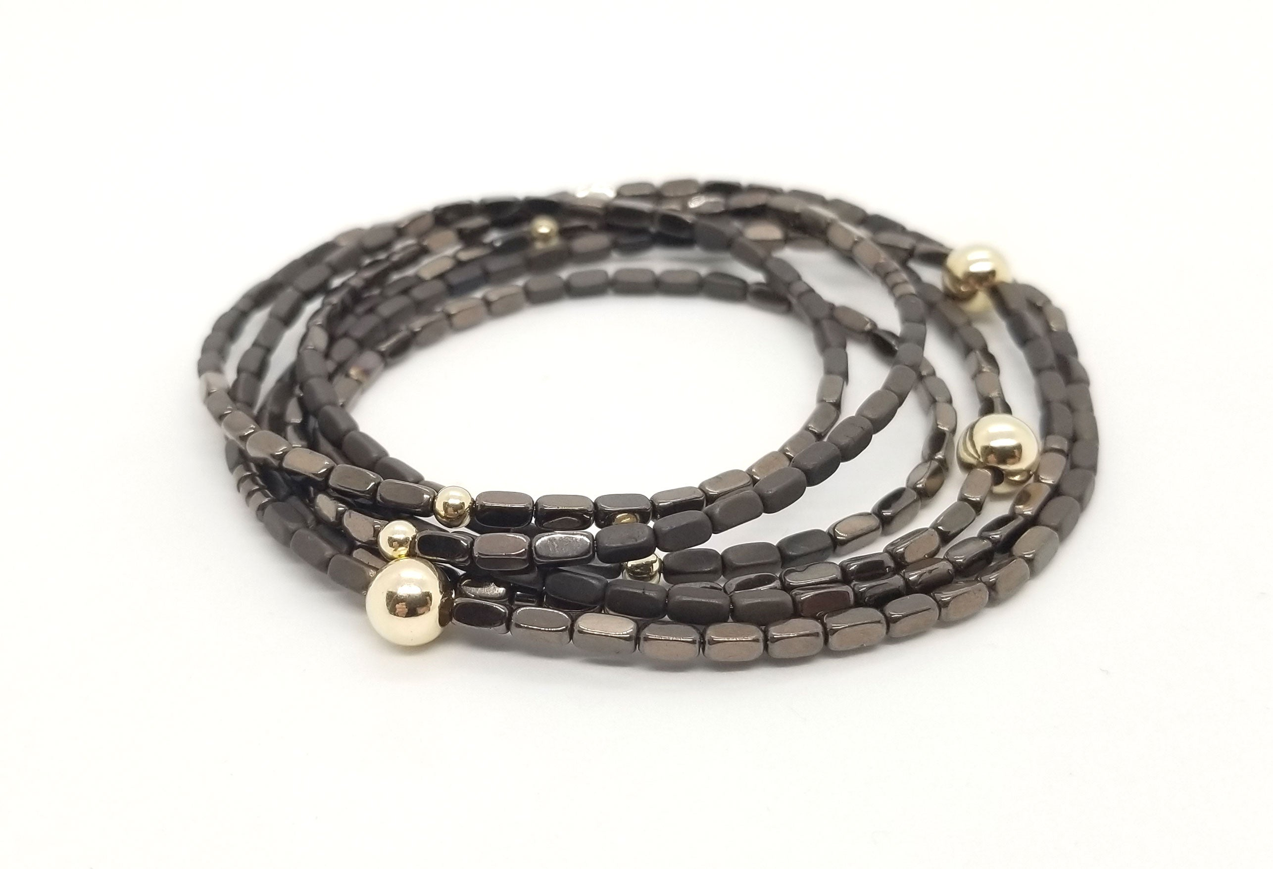 Bronze Rectangle Hematite and Gold Wrap 6 Stack Bracelet/Single or Double Necklace Combo